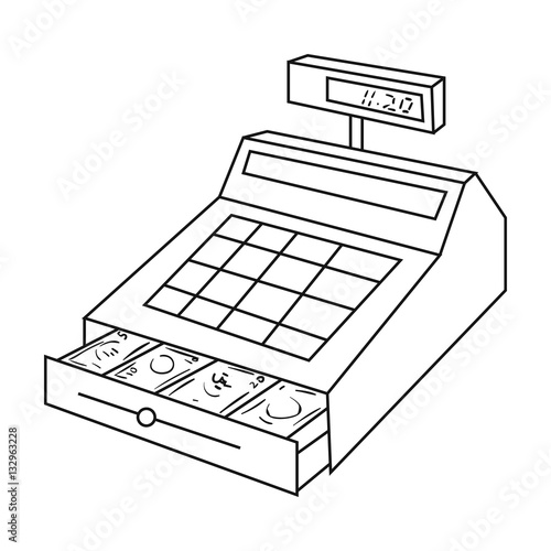 Line Drawing Money : Quot cashbox icon in outline style isolated on white