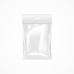 Blank white plastic package, empty template, realistic vector, isolated on white