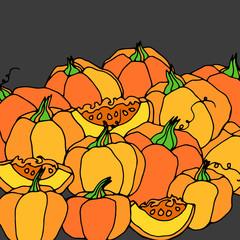 pumpkin vector autumn illustration halloween vegetable food