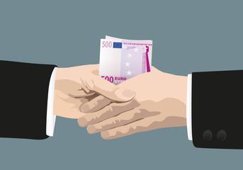 Corruption - billet de banque - poignée de main