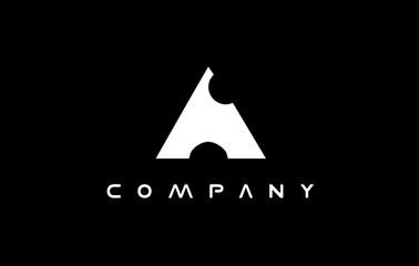 Alphabet letter A balck white logo