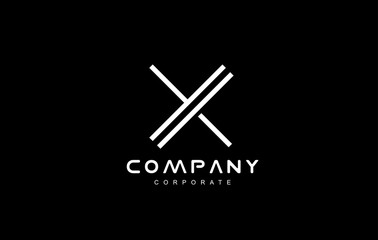 Alphabet letter x line logo icon design