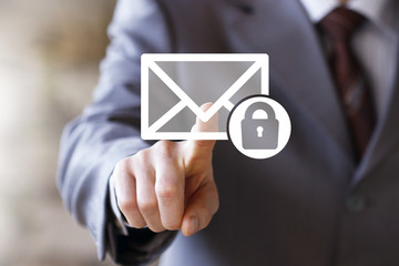Businessman pressing button mail lock security email icon