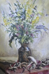 Oil painting, still life, bouquet of flowers and mushrooms