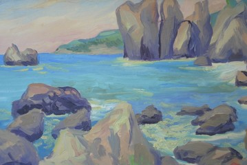 seascape, rocks, waves. Oil painting