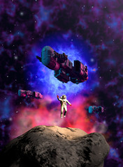 astronauta atterra su un asteroide scortato da 3 navi spaziali