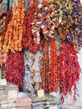 Dry fruit, spices and herbs in a market stall in Athens