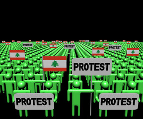 Crowd of people with protest signs and Lebanese flags illustration