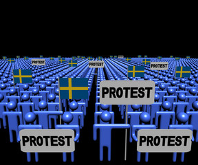 Crowd of people with protest signs and Swedish flags illustration