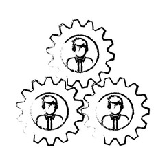 people and gears icon over white background. teamwork concept. vector illustration