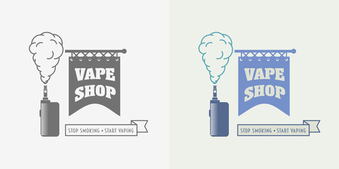 Vape shop badge, logo or symbol design concept isolated on white background. Color and monochrome