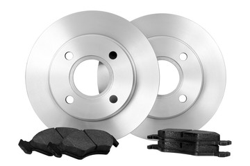 Brake Discs and Disc Brake Pads. Car parts on white background with clipping path.