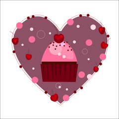 Valentine's Day heart with cupcake. Vector illustration.