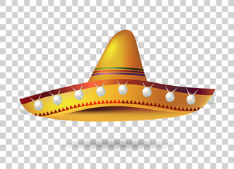 Mexican Sombrero Hat. headwear. Mexico. Vector illustration