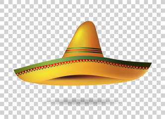 Mexican Sombrero Hat transparent background. Mexico. Vector illustration Wall mural