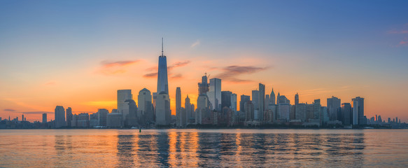 Manhattan Skyline at sunrise from New Jersey