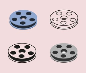 Movie icon set with roll of film