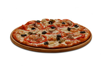 Pizza with mussel, calmars, shrimps and octopus. On white backgr