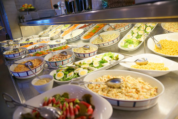 Closeup of delicatessen food set on restaurant buffet