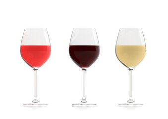 Glasses of wine on white background. 3d illustration