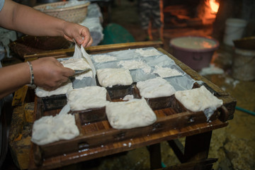 home made tofu cube, fresh everyday.