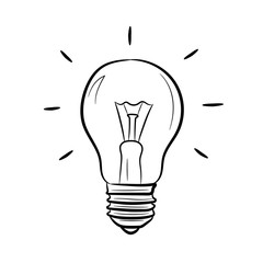 Light bulb on white background of vector illustrations