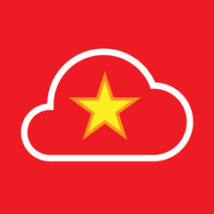 Isolated cloud with  the red star of communism icon