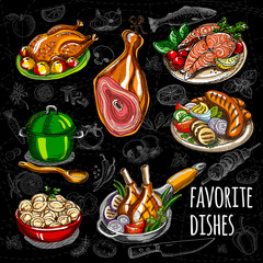 Set color sketch meat, fish, side dishes.
