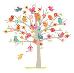 bird family on tree