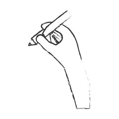 hand holding pencil icon image vector illustration design