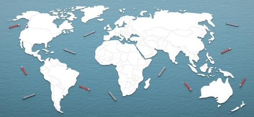 ocean arround world map form 3d rendering