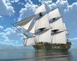 Old Sailboat On The Sea 3D Illustration