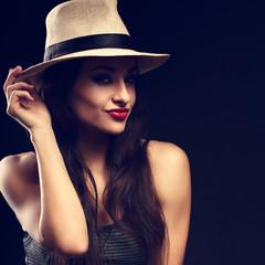 Beautiful happy grimacing female model with long brown hair posi