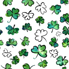 Seamless pattern with vector and watercolour shamrocks