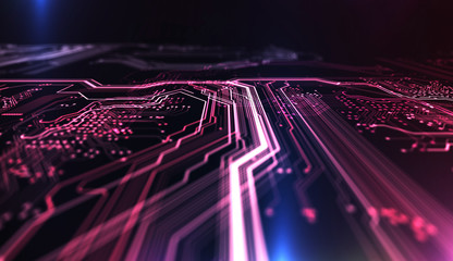 Technology background PCB and code/Technology background red and blue color, circuit board and code. 3d Illustration
