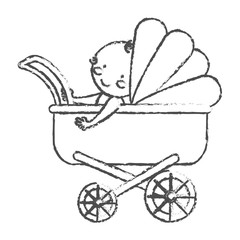 baby stroller icon over white background. vector illustration