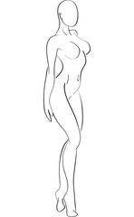 Sketch of the naked sports girl