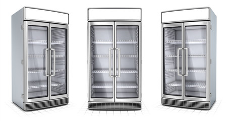 Fridge with transparent glass isolated. Refrigerator showcase on white background. 3d image set