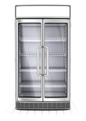 Fridge with transparent glass isolated. Refrigerator showcase on white background. 3d image