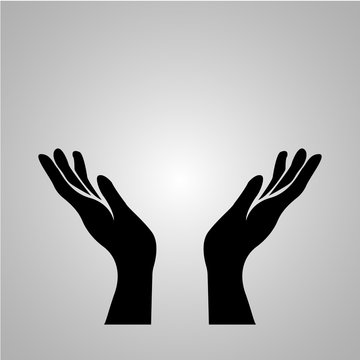 Hand icon on a grey background