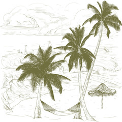 Three palm trees.