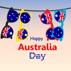 Greeting Card Day of Australia. Sunglasses with the flag