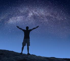 Man milky way in a starry sky