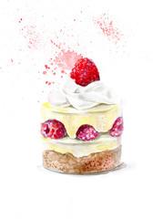 watercolor cupcake berry