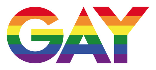 GAY capitals with rainbow stripes. Lettering in the six LGBT movement flag colors. The term gay refers to a homosexual person. Multicolored isolated illustration on white background. Vector.