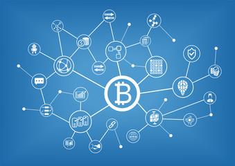 Bitcoin and blockchain vector illustration background