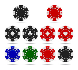 Poker chips set isolated on white background