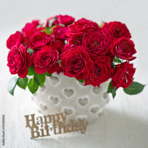 Beautiful Red Roses Bouquet For A Birthday Congratulation With Flowers