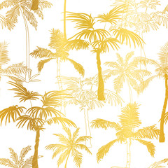 Vector Golden Palm Trees Summer Seamless Pattern Background. Great for tropical vacation fabric, cards, wedding invitations, wallpaper.