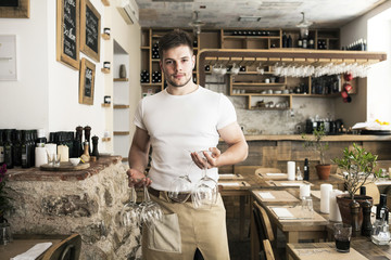 Male owner of oil bar and restaurant